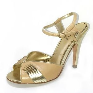 BEBE Corsica Honey Lov Tan Nude Gold Strappy Heels